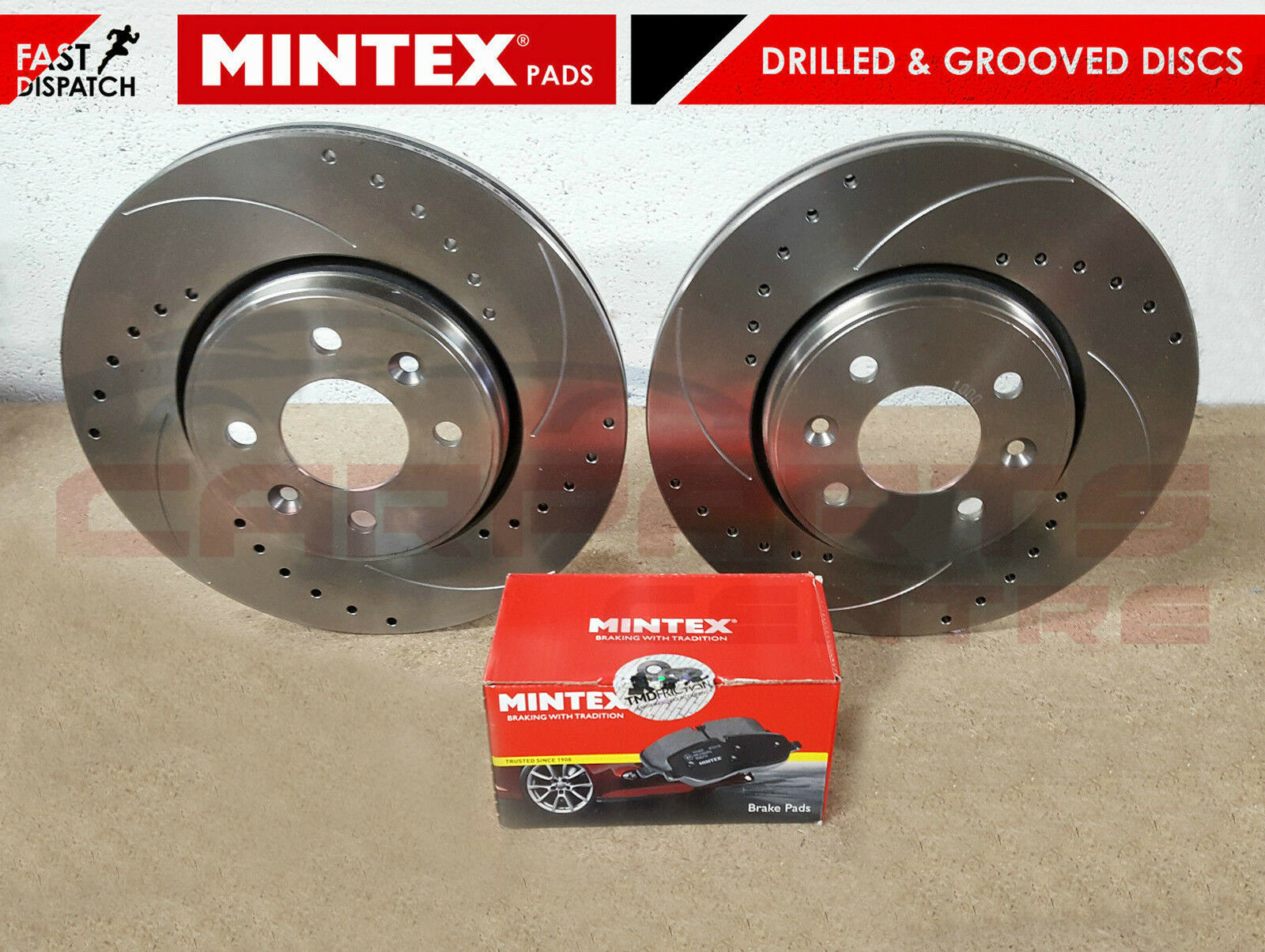 VAUXHALL CORSA D 1.2 1.6 SRI FRONT DISCS AND PADS DRILLED /& GROOVED  2006-2014