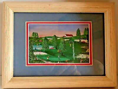Charles White Art Prints - Rare Charles J. White ART Golf Print Small Matted & Framed 4.5