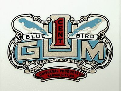BLUEBIRD GUM ONE CENT. VENDING, COIN OP  WATER SLIDE DECAL # DB 1085