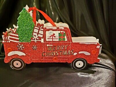 Red Glitter Lighted Truck With Tree