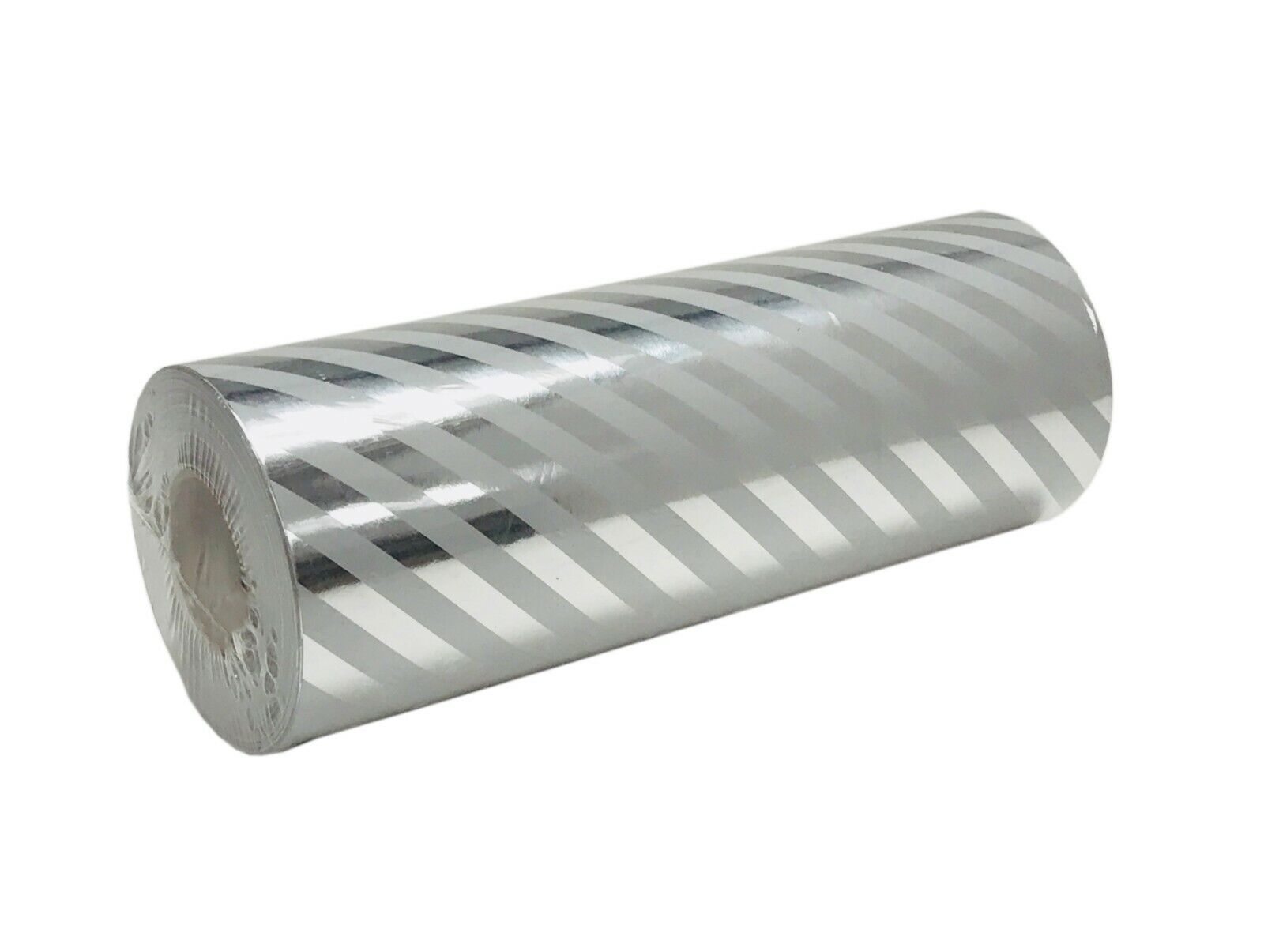 """Jewelry 7.5""""  x 150 f White Stripe Silver Foil Gift Wrapping"""