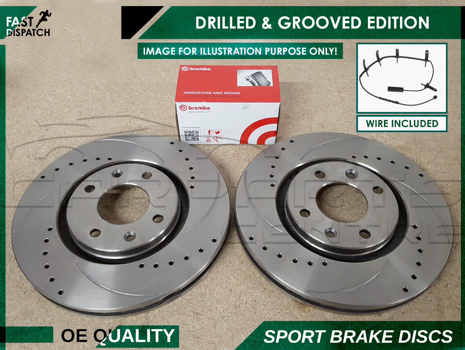 MINI ONE COOPER S 01-06 FRONT DRILLED BRAKE DISCS AND MINTEX PADS SENSORS