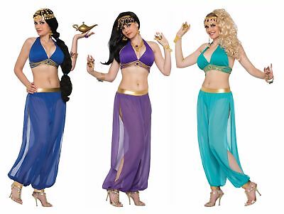 Halter Top Sexy Women's Costume Jasmine Desert Princess Genie Purple Blue Green - Purple Princess Jasmine Costume