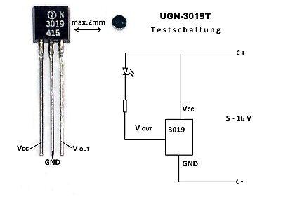 1x UGN3019T Hall-Sensor + Magnet (Reed,Reedkontakt,Schalter,Magnetschalter)
