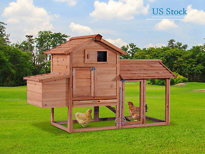 "Wooden Chicken Coop Rabbit Hutch 60"" Large Hen House Animal Pet Cage with Run"