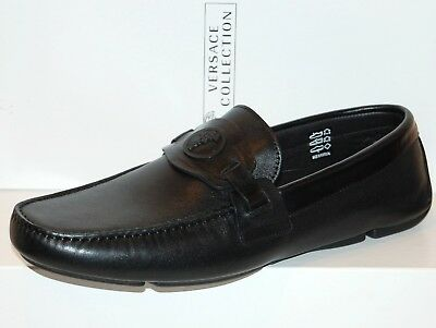 Versace Collection Men Black Loafer Leather Italy Shoes Sz 12 Driving Moccasin