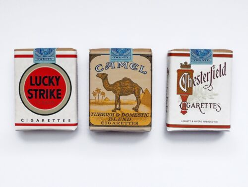 WW2 Replica US Cigarette Set - Lucky Strike Camel Chesterfield Props D-Day 75th