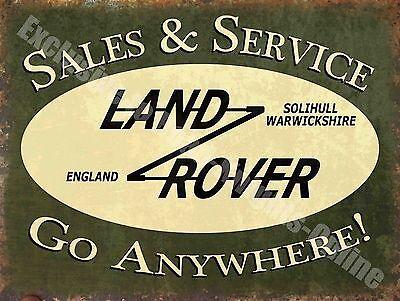 Vintage Garage, 43 Landrover Sales/Service Old Advertising, Large Metal Tin Sign
