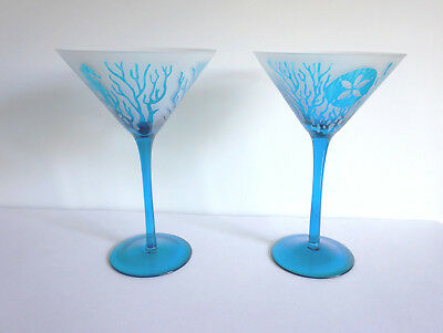 2 Wine Glasses Ocean Theme Coral/ Seahorses/ Sand Dollar Applique Frosted Glass