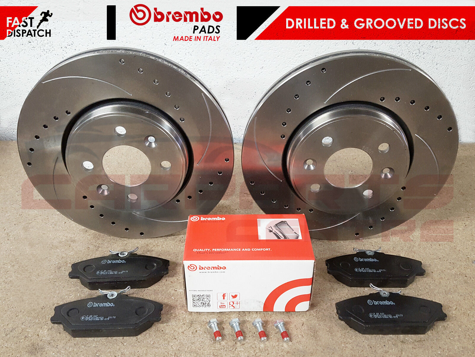 CLIO SPORT 182 Drilled Grooved brake Discs Front Pads