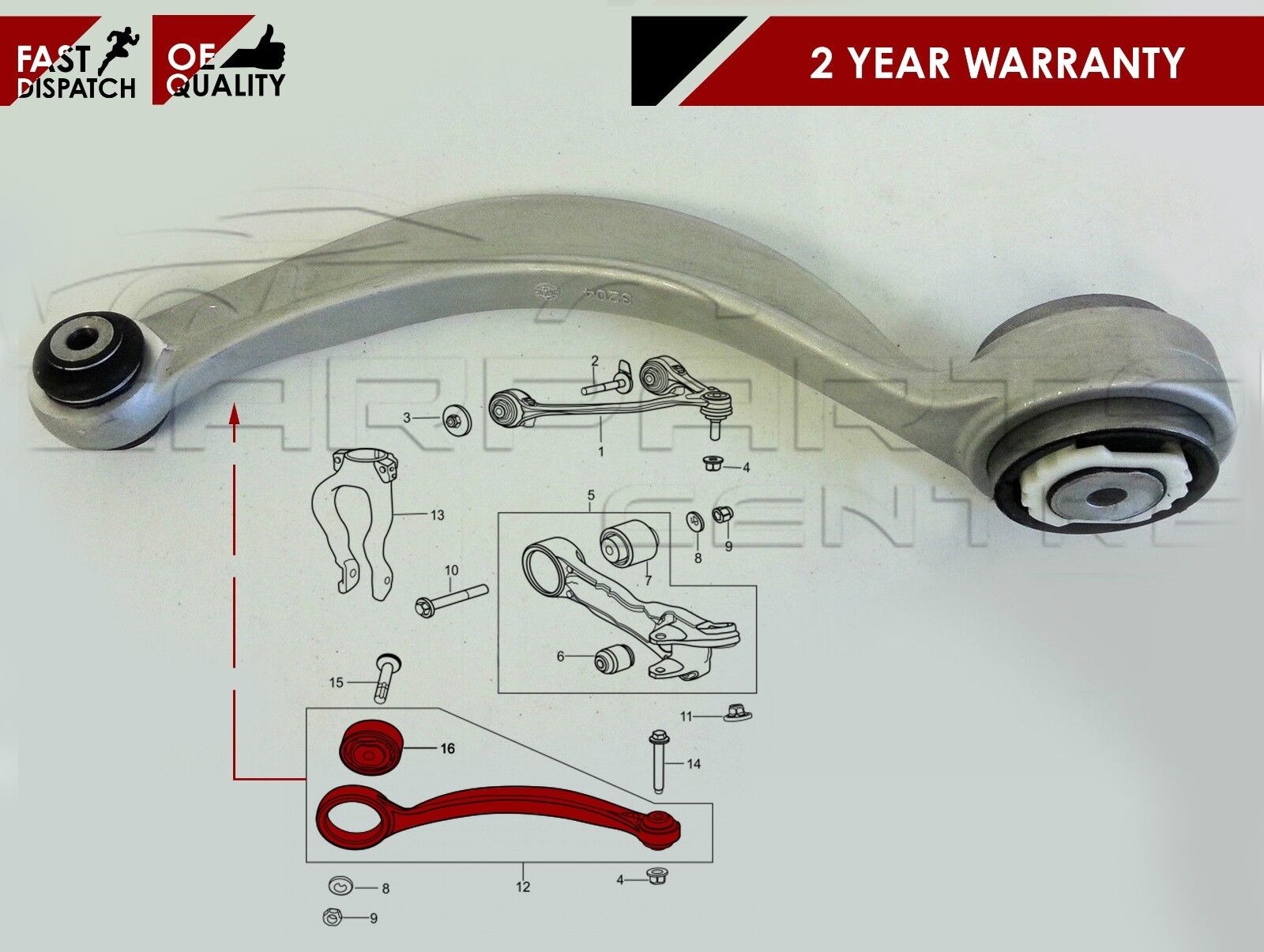 For Jaguar S Type Xj Xf Front Suspension Lower Wishbone Track 2008 Volkswagen Beetle Components Car Parts Diagram Control Arm Curved