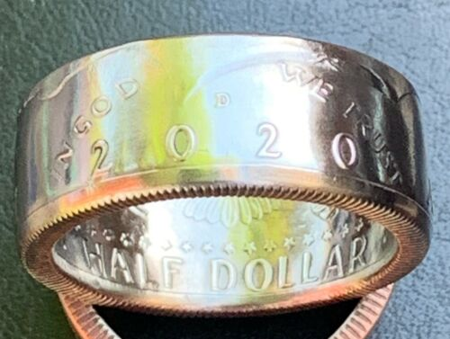 1971-2020 Kennedy Half $ Coin Ring, Size 8-17, Pick the year. Handmade. Free S&H