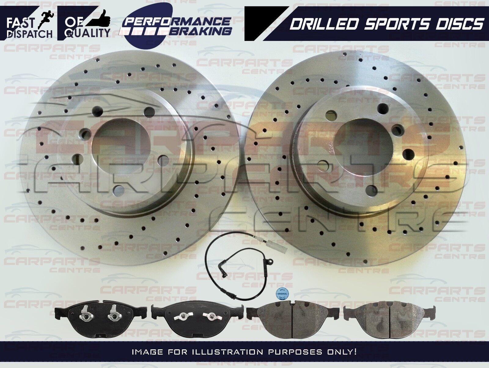 FOR BMW 535d F10 F11 REAR DRILLED BRAKE DISCS MINTEX PADS WEAR WIRE SENSOR 345mm