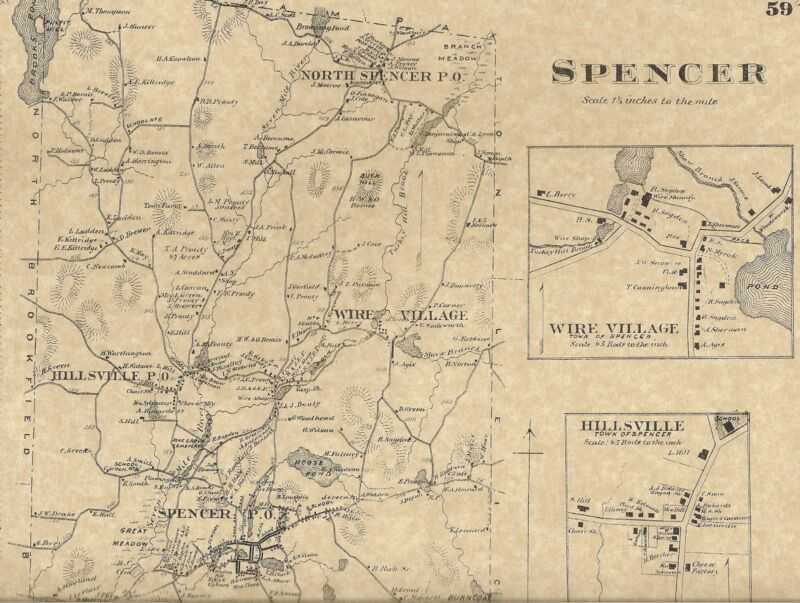 Spencer Leicester Cherry Valley Rochdale MA 1870 Maps w/ Homeowners Names Shown