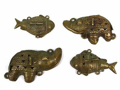 Art African - African Pendants Set of 4 Pendants Ornaments Bronze Ashanti