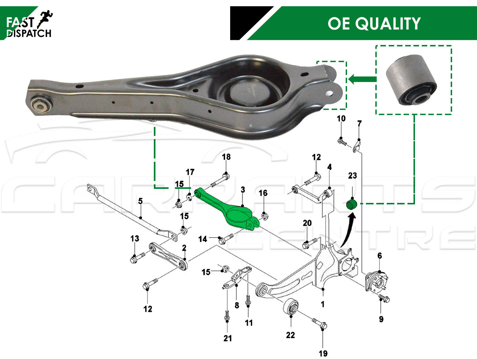 FITS FORD MONDEO 2007/> REAR LOWER TRAILING ARM SUSPENSION BUSHS FAST DISPATCH