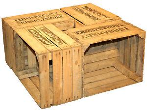 4 pi ces solide cageot fruits ts caisse vin bo tes en bois bo tes de pommes ebay. Black Bedroom Furniture Sets. Home Design Ideas
