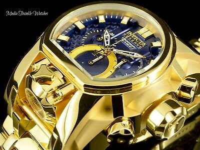Invicta Reserve 52mm Bolt Zeus BLUE DIAL MAGNUM 18K Gold Plated Bracelet Watch