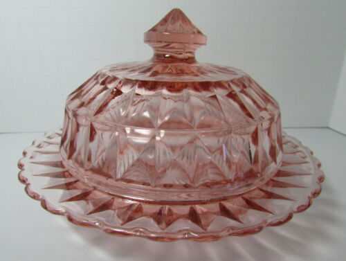 Jeannette Glass Co. WINDSOR DIAMOND Pink Round Butter Dish with Cover