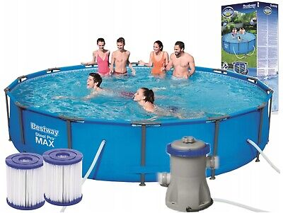 PRO MAX BestWay Steel Frame Swimming Pool Set Round 14ft x 33in...