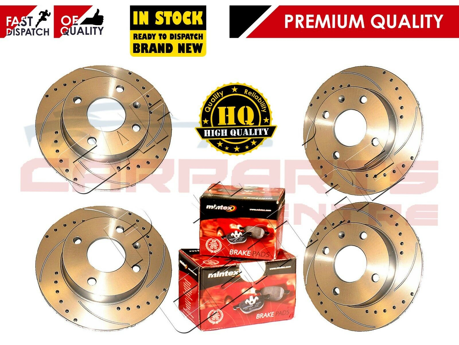 Seat Ibiza Rear Drilled Grooved Brake Discs 99-02