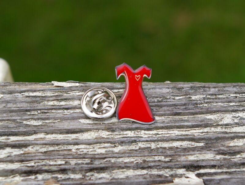 Red Dress Silver Tone Metal Pin Pinback American Heart Association