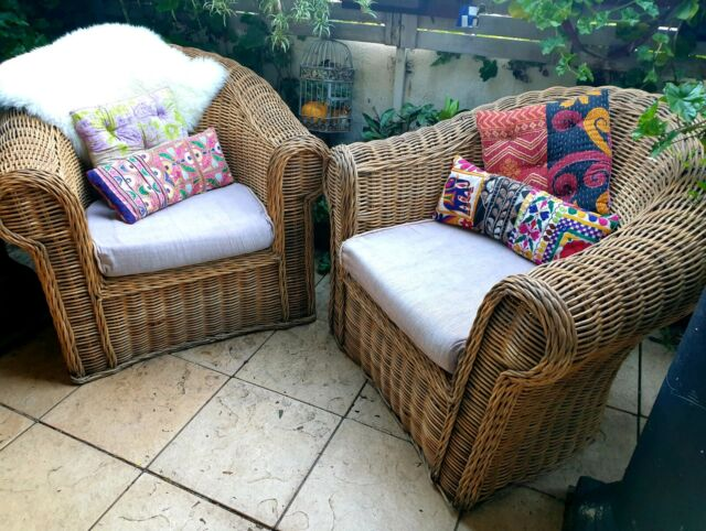Large cane wicker chairs pending pick up   Armchairs ...