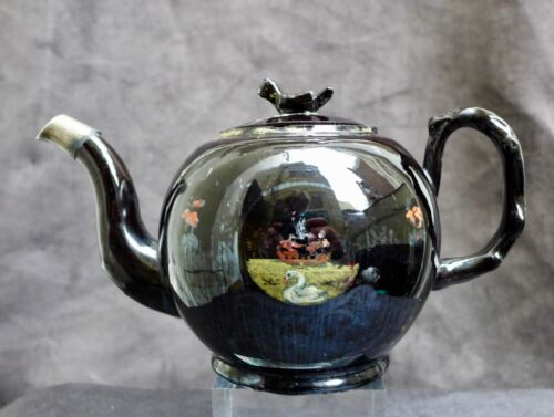 Antique English Jackfield Teapot and cover with bird knop ca 1780 Staffordshire