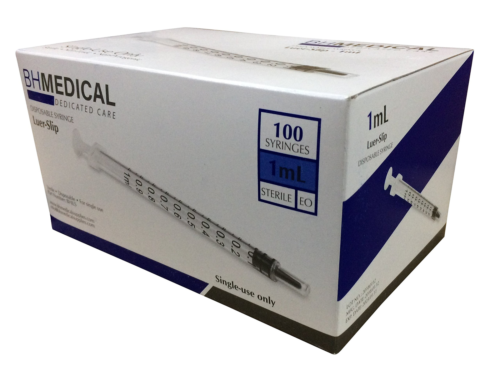 3ml Syringe Sterile with Luer Lock Tip No Needle Individually Sealed 100 Syringes by BH Supplies