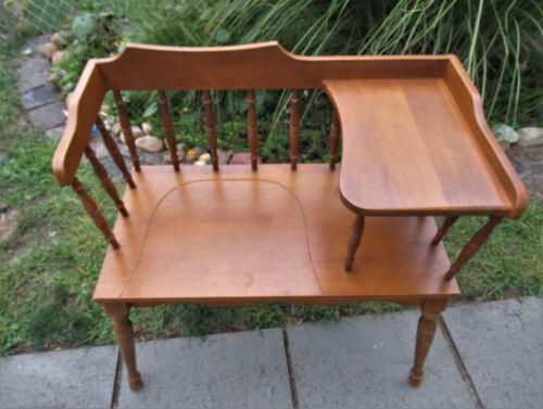 VINTAGE ETHAN ALLEN STYLE GOSSIP BENCH TELEPHONE STAND WOODEN ENTRY CHAIR TABLE