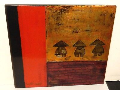 WAN SMALL CHINESE PEOPLE LACQUER PANEL PAINTING
