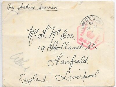 GB ACTIVE SERVICE COVER 13/10/1916 FPO T25 (FRANCE);HEXAGONAL CENSOR 2477.