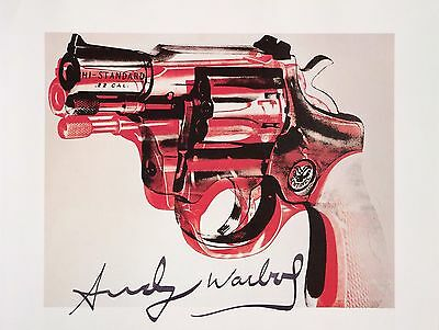 COMPELLING ANDY WARHOL HAND SIGNED SIGNATURE * GUN *  PRINT  W/ C.O.A.