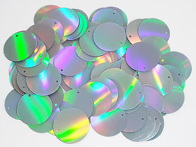 100 x 25mm large round silver prismatic sequins