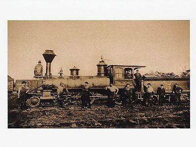 Postcard  Classic Steam Locomotive  W Workers Outside In Front    59