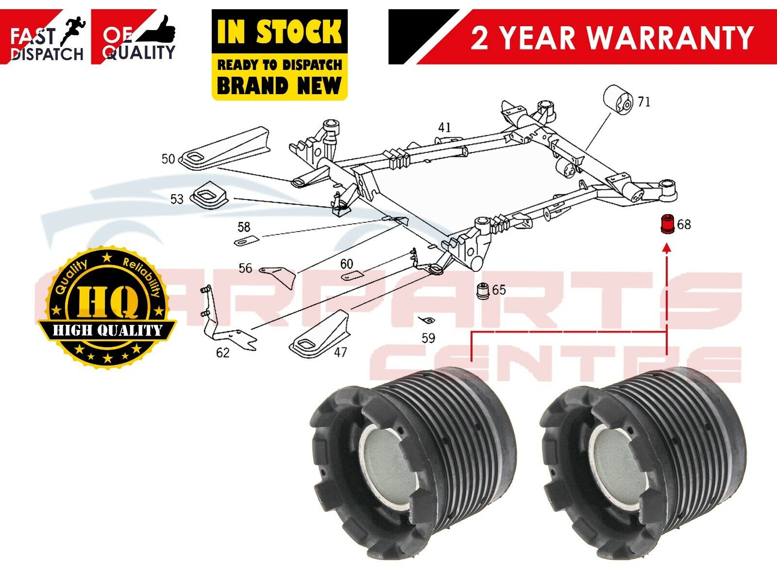 Rear Gas Shock Absorbers PAIR Fits MERCEDES V Class 638//2 638 1996-2003