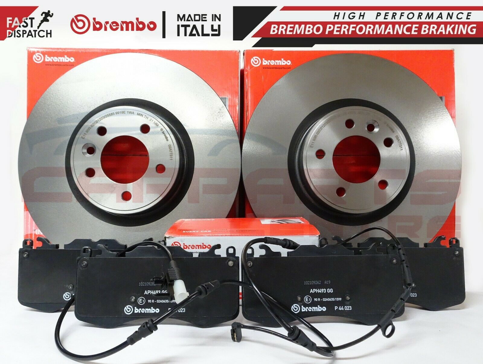 For Land Rover LR4 Pair Set of 2 Front Coated Vented 360mm Brake Discs Brembo