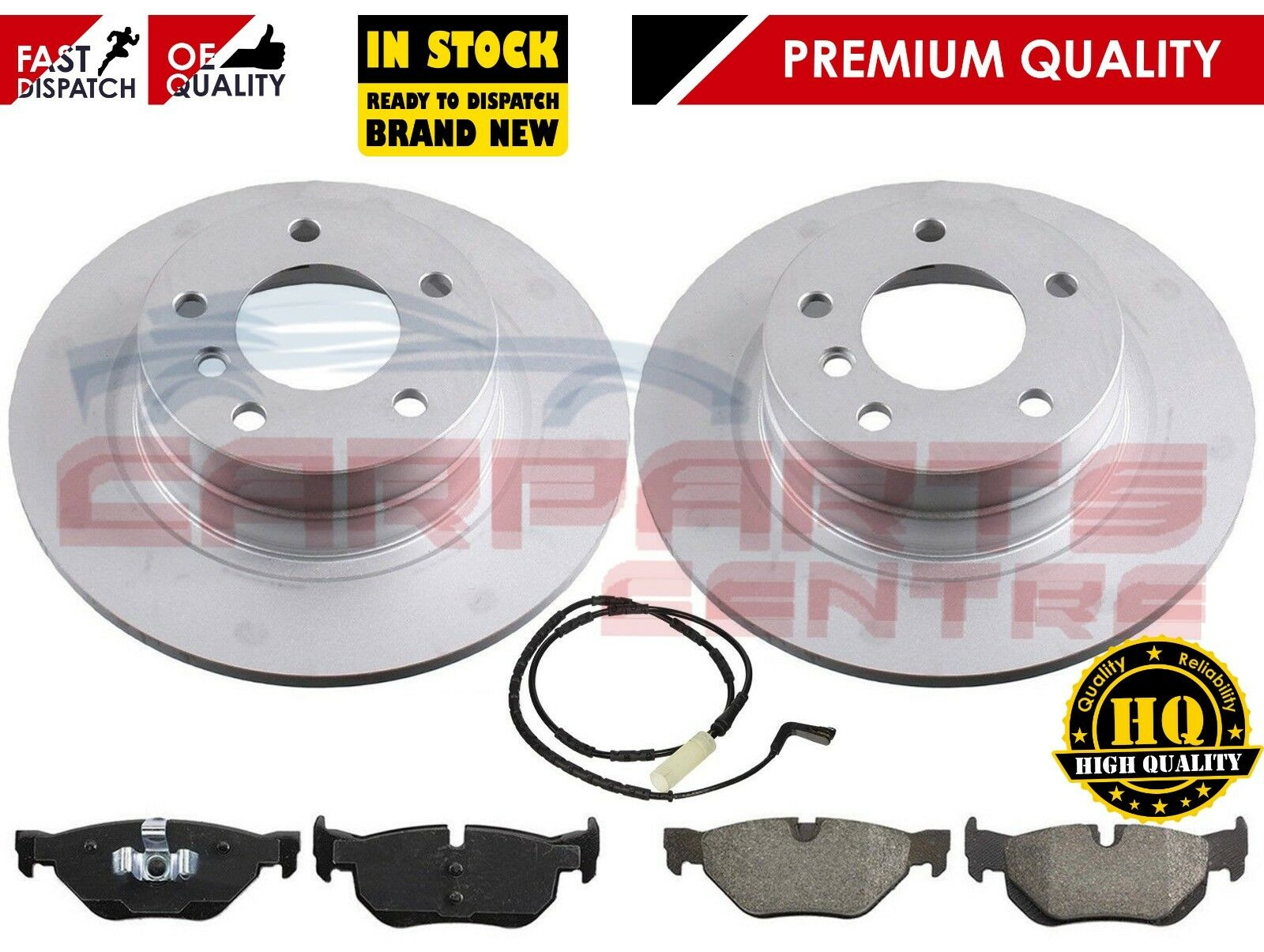 FOR BMW 318 TOURING E91 2006-/> REAR BRAKE DISCS SET DISC PADS PAD SENSOR KIT