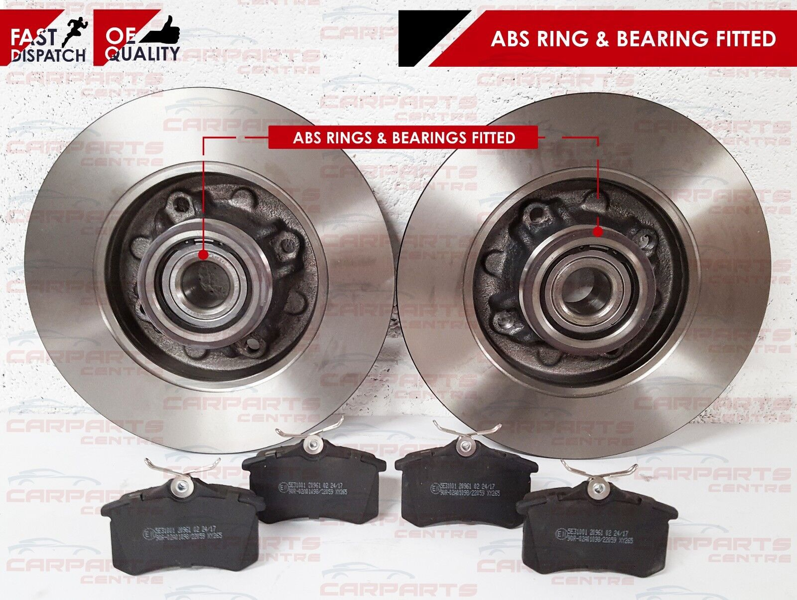 PEUGEOT 207 REAR BRAKE DISCS FITTED WHEEL BEARINGS /& ABS RINGS AND PADS SET NEW