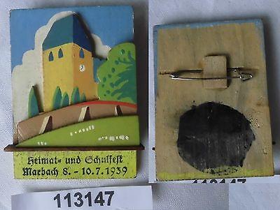altes Holzabzeichen Seiffen Heimat- und Schulfest Marbach 1939 (113147)
