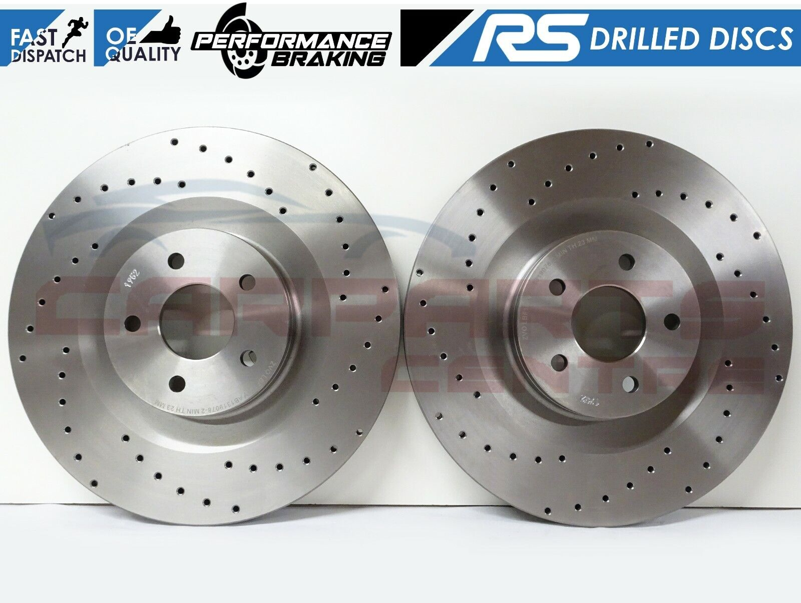 Focus RS MK3 Brake Discs Front Performance Dimpled Grooved 350mm Ford 2.3 RS