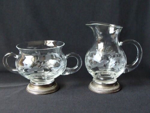 Sterling Silver & Cut Glass Etching Cream Pitcher and Sugar Serving Bowl Set
