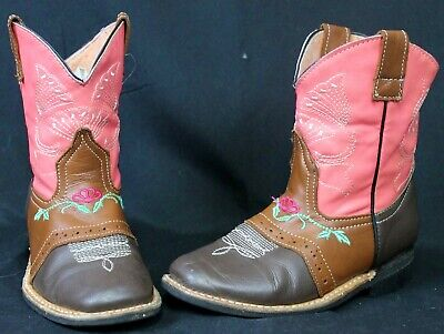 Pink & Brown Girls Faux/Vegan Leather Boots Cowgirl Western Embroidered Cowboy