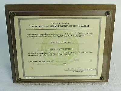 Vintage California Highway Patrol CHP Officer Graduation Certificate Plaque 1957