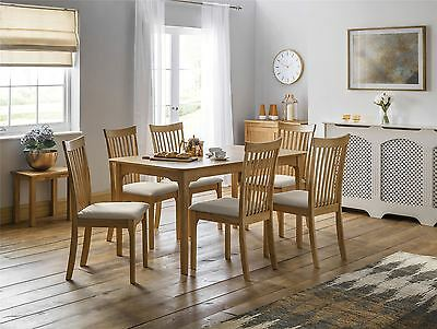 Julian Bowen Ibsen Light Oak Wood Extendable Dining Table & 4 Solid Chairs