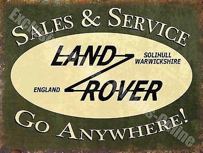 Vintage Garage, 43 Land Rover Sales & Service, Old Advert, Medium Metal Tin Sign