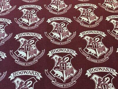 Harry Potter Hogwarts Emblems (on maroon) fabric Fat Quarter 46 x 56cm sewing