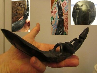 ANTIQUE NORTHWEST COAST HORN LADLE WITH CARVED FIGURE & animals carved on bottom