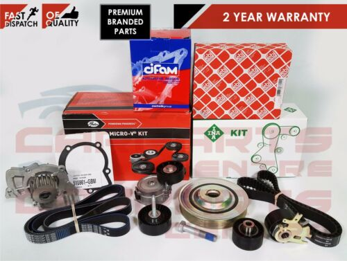 FORD MONDEO 2.0 TDCI TIMING FAN BELT CRANK SHAFT PULLEY TENSIONER WATER PUMP KIT