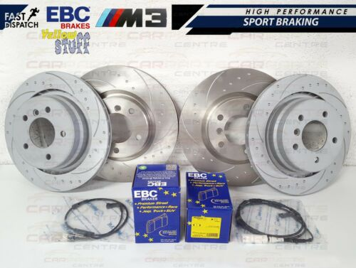 BMW E36 M3 EVO FRONT REAR DIMPLED GROOVED BRAKE DISCS EBC YELLOW PADS SENSORS